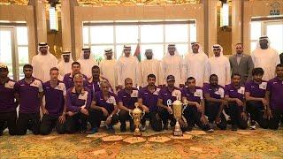 طحنون بن محمد يستقبل فريق الكرة الطائرة بنادي العين بطل الدوري العام