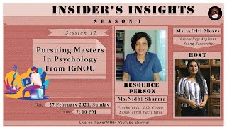 Pursuing Masters in Psychology from IGNOU