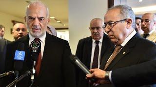 تصريح مقتضب لوزير الخارجية العراقي ابراهيم الجعفري ووزير الخارجية الجزائري رمطان العمامرة