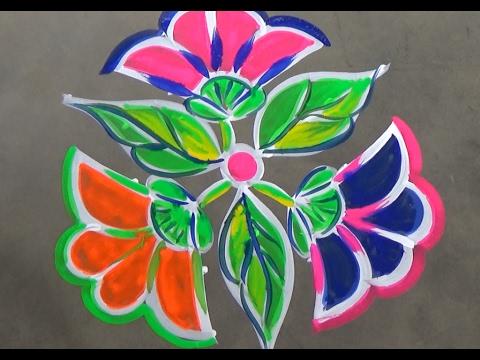 Flower rangoli designs with 7x4 dots// simple kolam ...