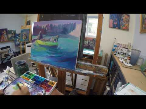 Painting demonstration (part2) of Suzanne and Dotti in Kayak by Lindblad Studios