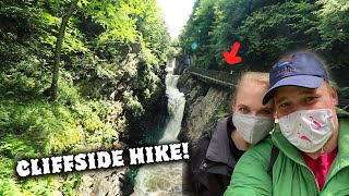 Insane cliffside hike taĸes you over raging waterfalls at High Falls Gorge | Hidden Gems
