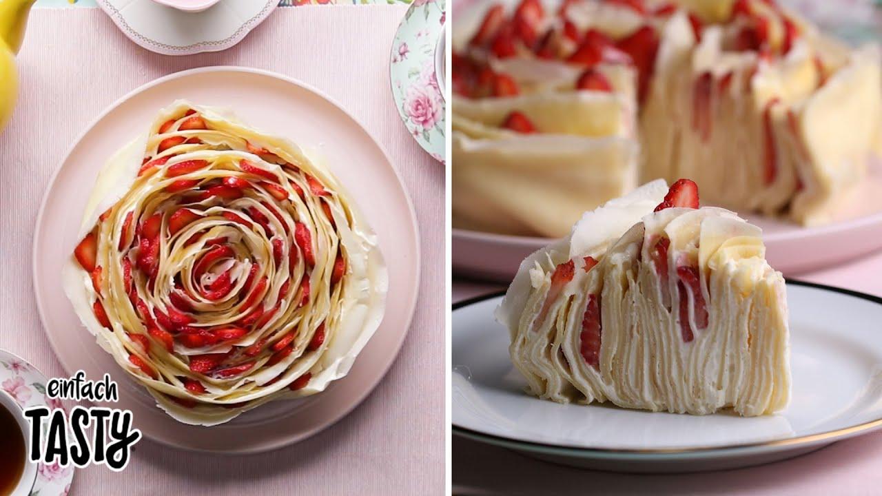 Erdbeer-Rosen-Crepe-Kuchen - YouTube