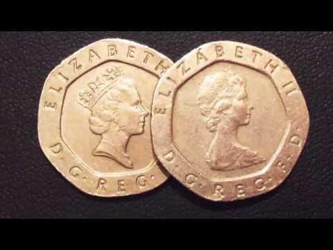 20 Pence 1982.1997 Variety Elizabeth 2 United Kingdom Coins.Centavo Coins.Qepik