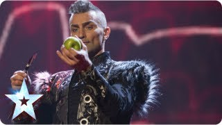 Menacing Aaron Crow shoots an apple off Dec's head! | Semi-Final 1 | Britain's Got Talent 2013