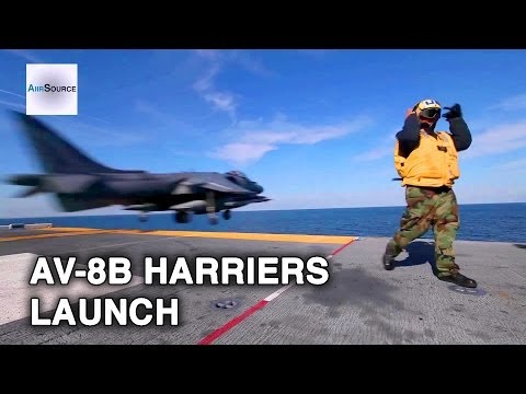 US Marine Launches AV-8B Harriers from USS Bataan