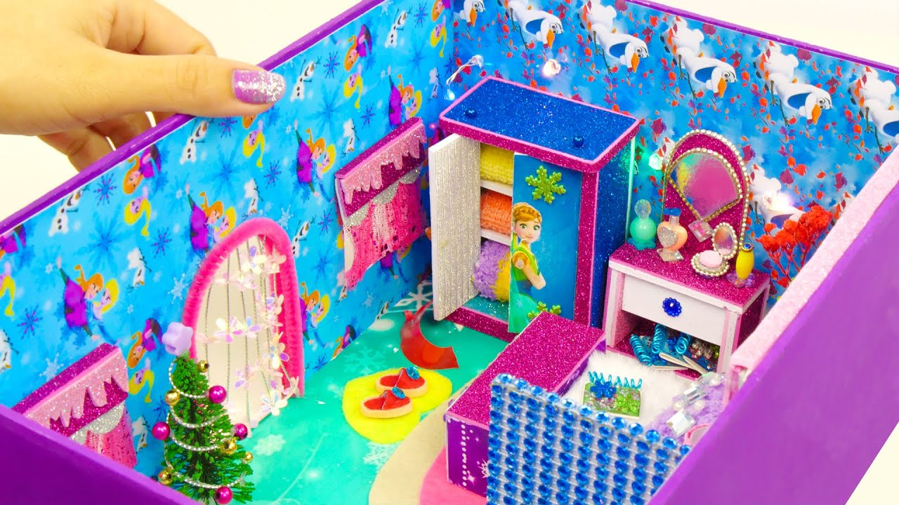 Diy Miniature Frozen Bedroom And Bathroom In A Shoebox Youtube