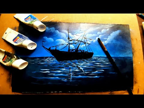 Acrylic painting of moonlight night sky with a lonley ship|New painting idea
