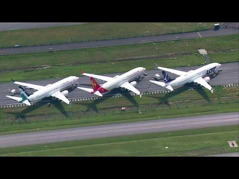 Aerials of Boeing 737 MAX planes still grounded at Everett's Paine Field in June 2019