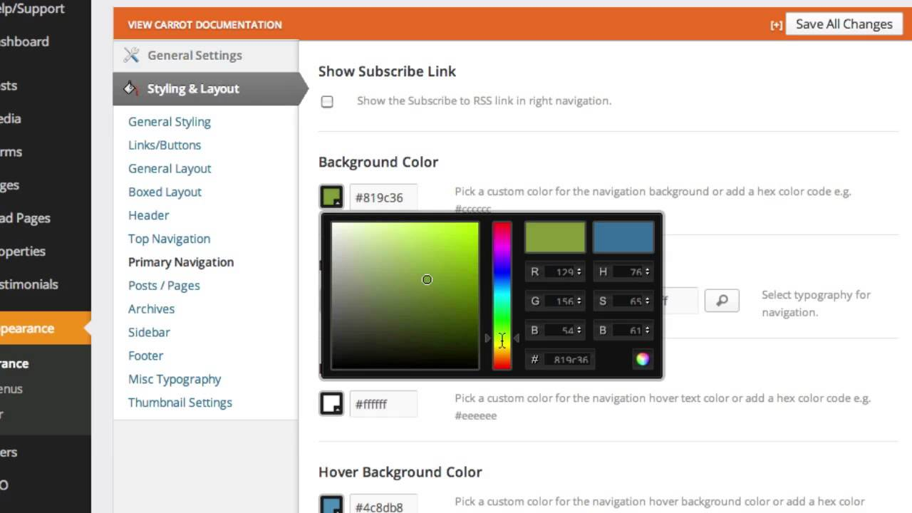 Updating The Navigation Menu Color On Your Site