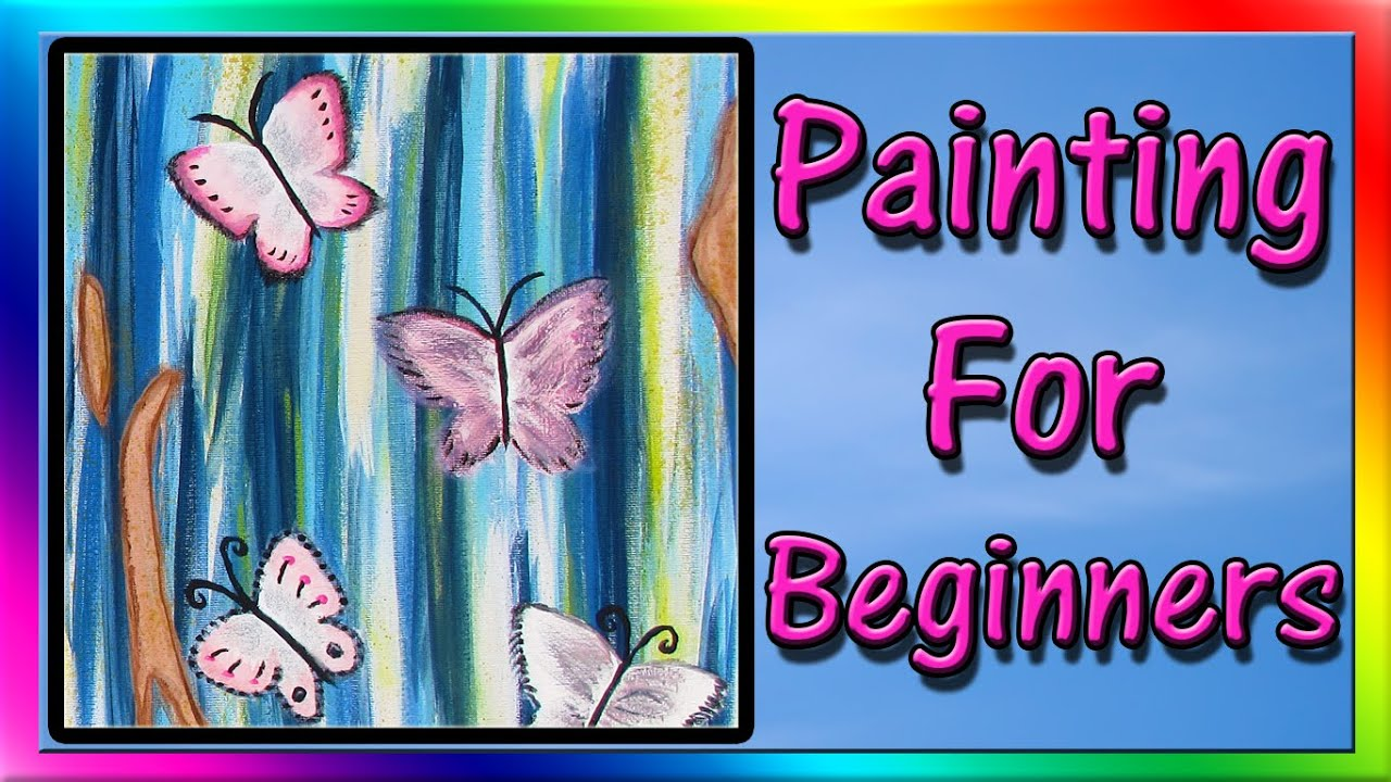 Easy Acrylic Painting for Beginners - Abstract Painting - YouTube for Butterfly Painting Designs  300lyp
