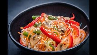 Китайская кухня - фунчоза с куриной грудкой, овощами и кунжутом ☝