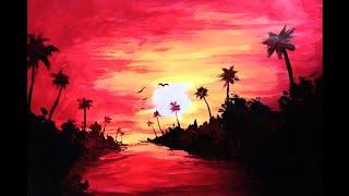 Acrylic Painting Landscape | Sunset Acrylic Painting Easy