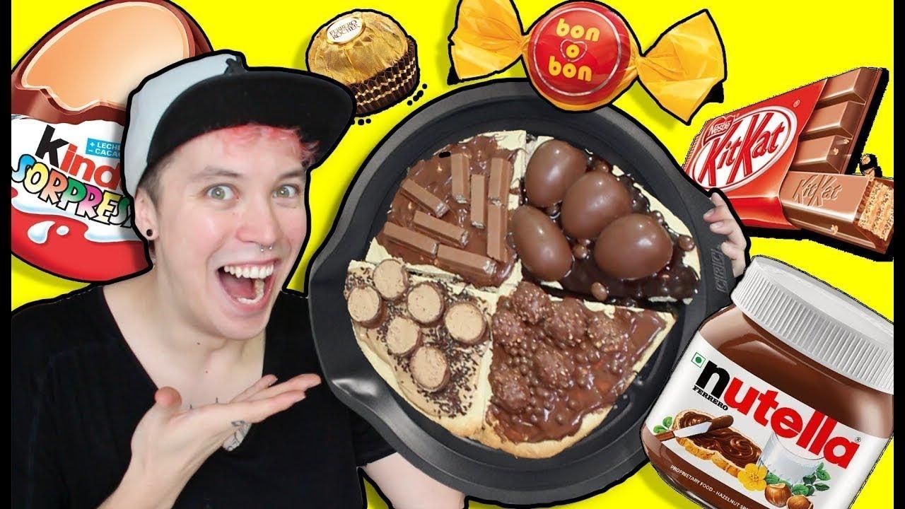 LEO VENEGAS | HICE PIZZA GIGANTE DE CHOCOLATE DE 1000 PESOS NUTELLA KINDER KIT KAT!