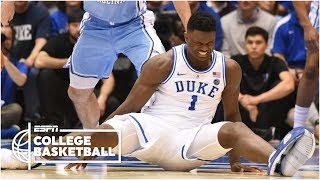 Zion Williamson leaves with a knee injury, as UNC rolls vs. Duke | College Basketball Highlights