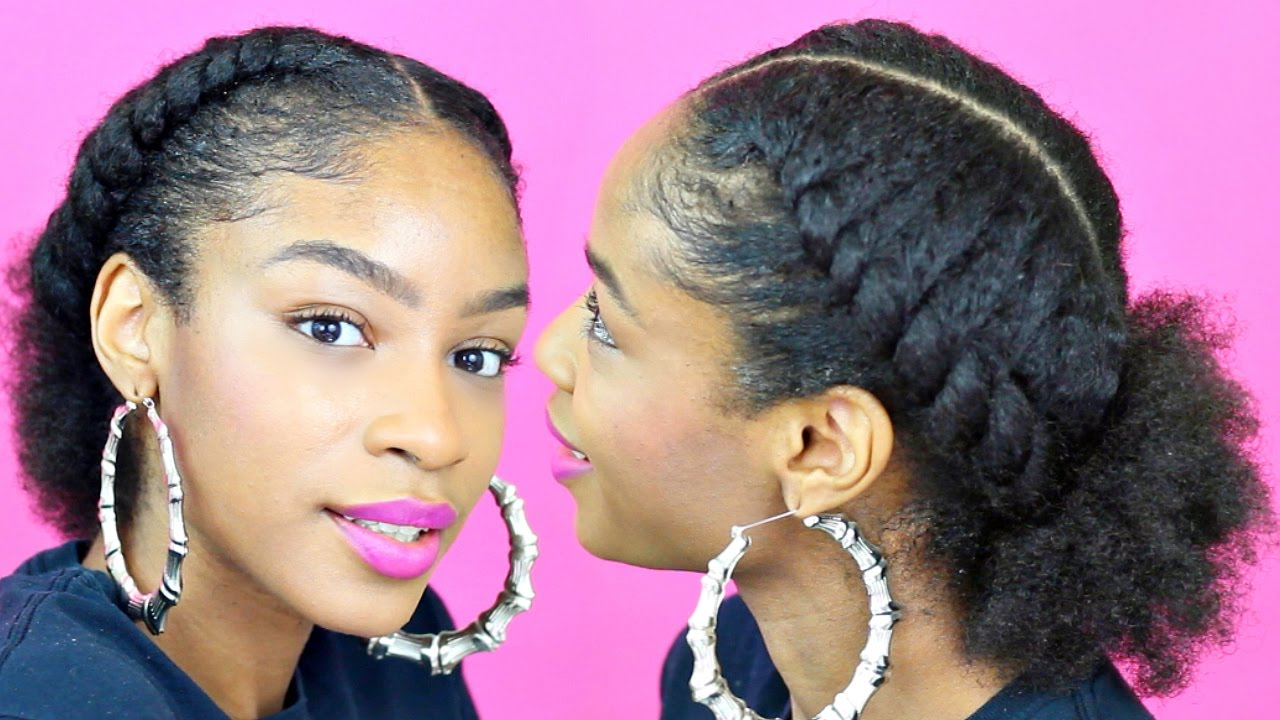 Natural Hair Styles With Marley Hair: Flat Twist Ponytail On Natural Hair Natural Hairstyles