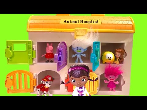 Paw Patrol Trolls Sick an in Doc McStuffin Animal Hospital Learn Colors and Find Toy Surprise