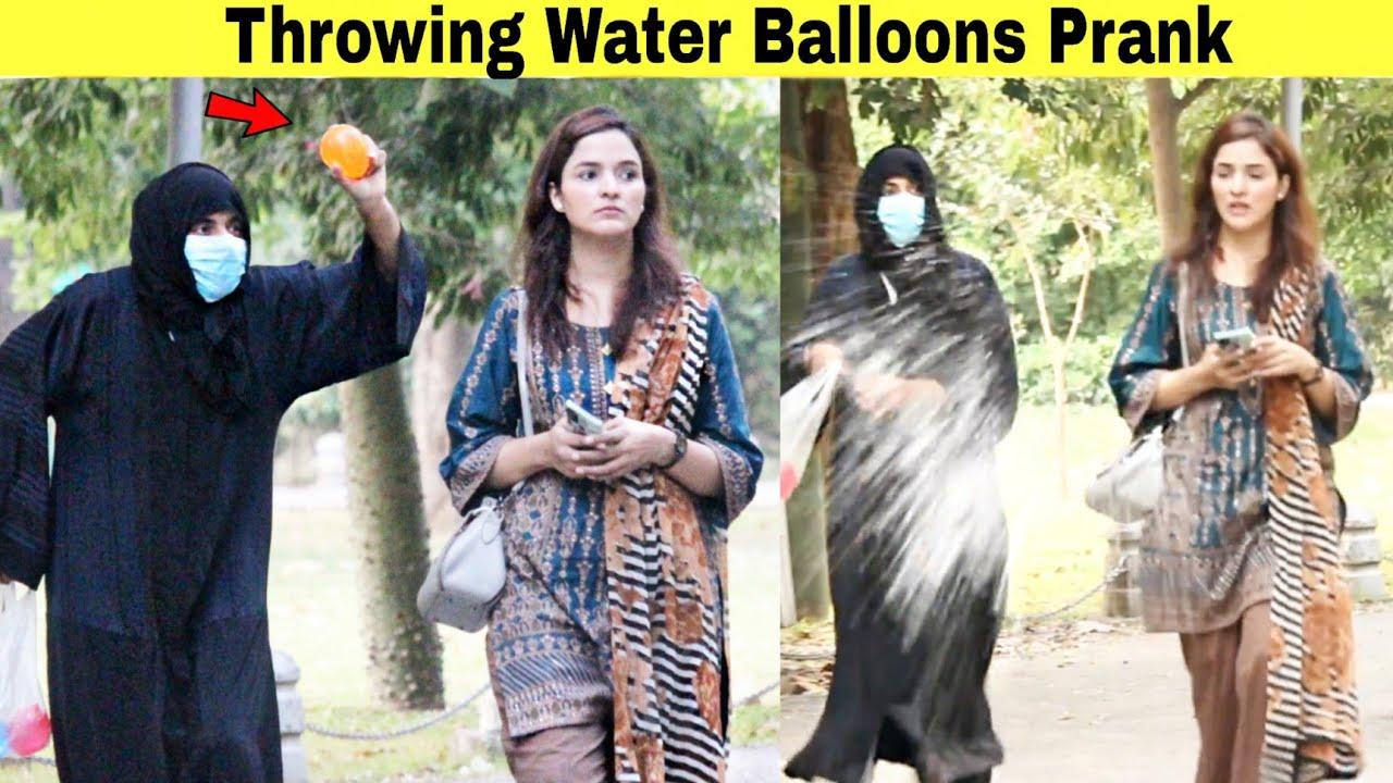Throwing Ice Water Balloons at Peoples Prank   @Hit Pranks