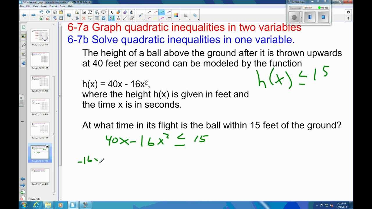 Worksheets Functions Solving Quadratic Inequalities In One Variable Worksheet 6 7 example 4 solve quadratic inequality application problem youtube problem