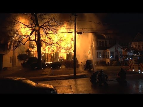 Flames quickly consume the Teaneck home.