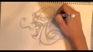Timelapse Speed Draw Monster NEKROTUS For TCG Community Game DREAMSCAPE