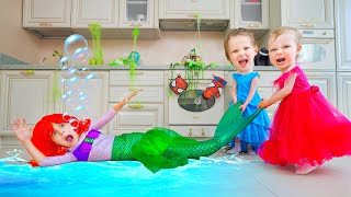 Five Kids Mermaid at Home  + Funny Songs and Videos