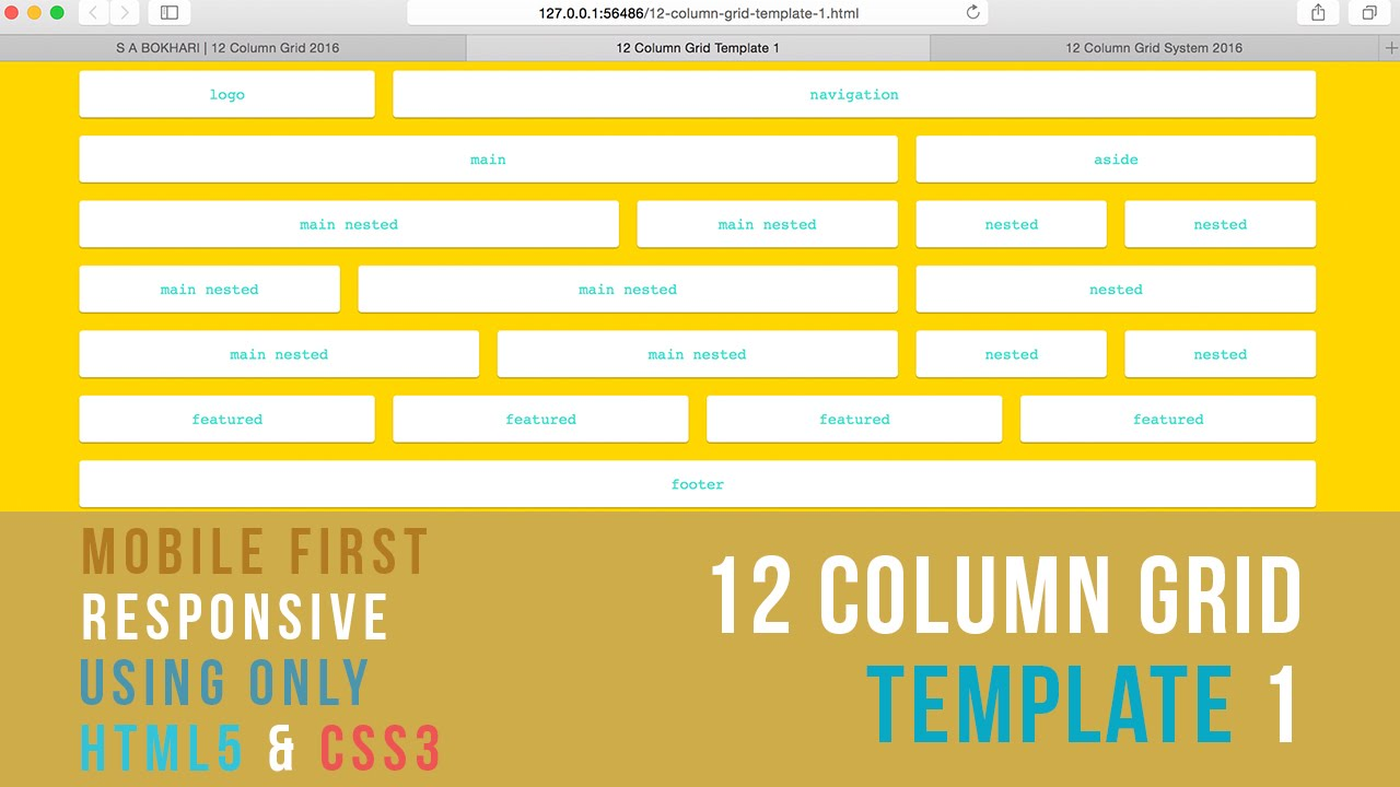 mobile first responsive 12 column grid template 1 using only html5