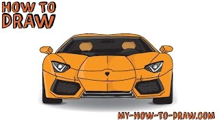 How to draw a car - How to draw a Lamborghini Aventador Sports Car