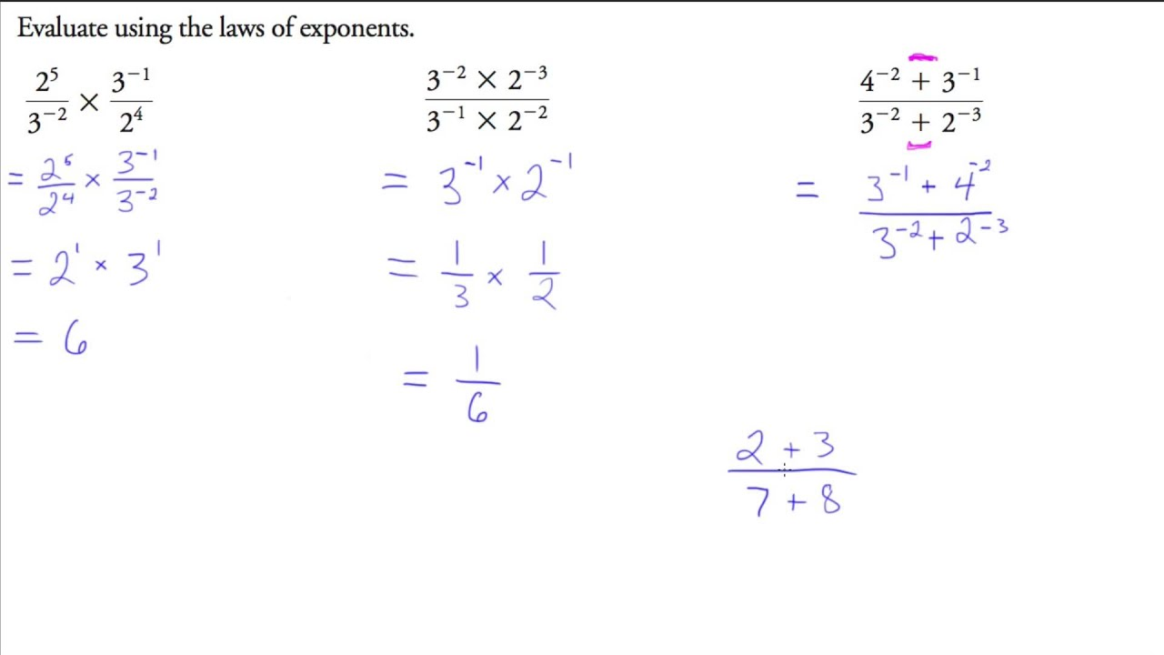Exponent laws grade 9
