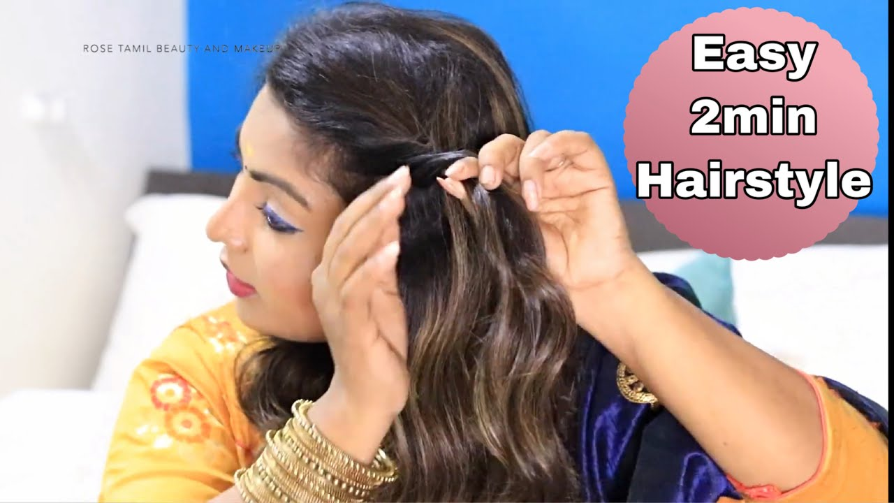 Easy hairstyle for saree in tamil  Pongal Special  easy twist hairstyles  for beginners