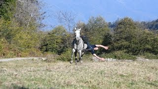 Бревно, вертушка, поперек: абхазский джигит показал трюки на коне