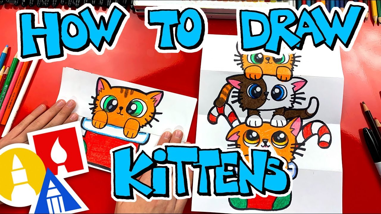 How To Draw A Christmas Kitten Stack (Folding Surprise ...