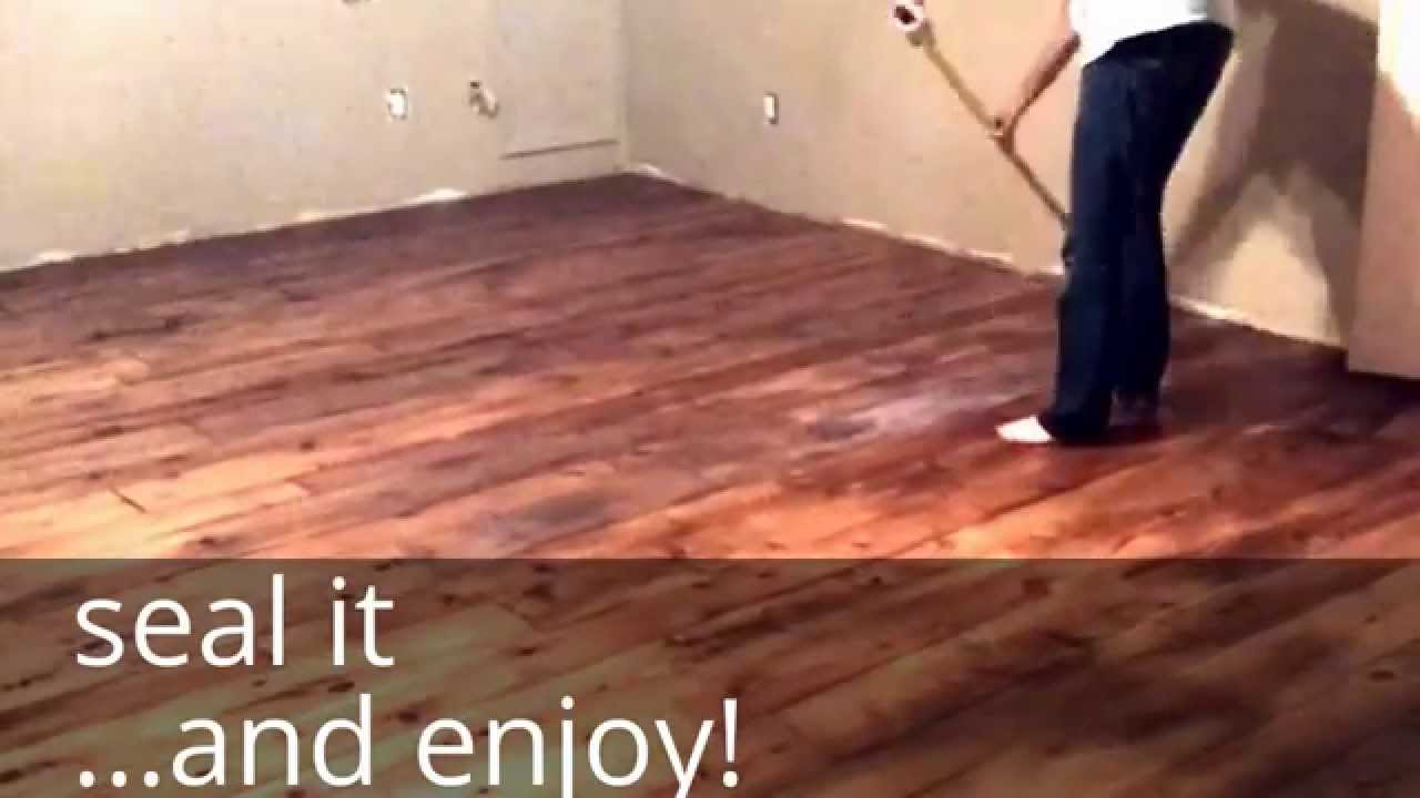 DIY Farm House Floor   Easy And Cheap Wood Floors With That Industrial,  Chic, Country Feel   YouTube