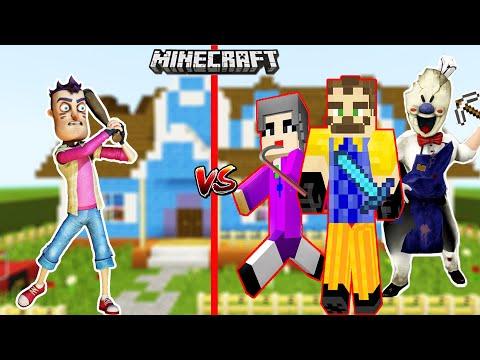 EN KÖTÜLER MiNECRAFT DÜNYASINA GİRDİ 😲 Minecraft Hello Neighbor VS Scary Teacher VS Ice Scream 4  