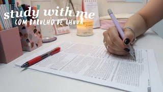 study with me em tempo real   com barulho de chuva ♡