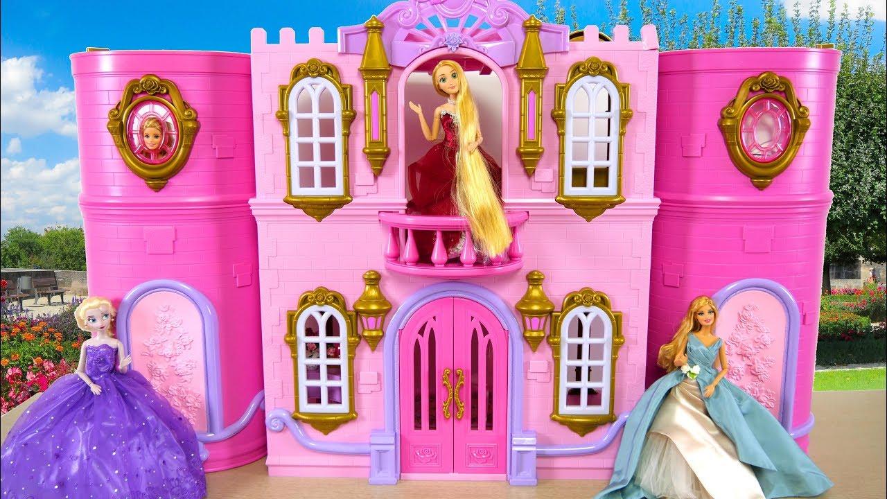 Disney Princess Barbie Deluxe Pink Castle Palace Unboxing Kastil Putri Barbie Princesa Castelo