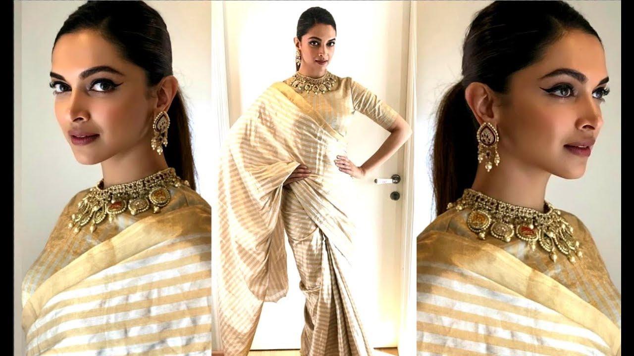 b330585005 Deepika Padukone In Golden Saree On Super Dancer 2 For Padmavati Promotion