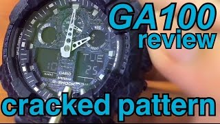 Casio GA-100CG G-Shock BLUE Cracked Pattern detail review