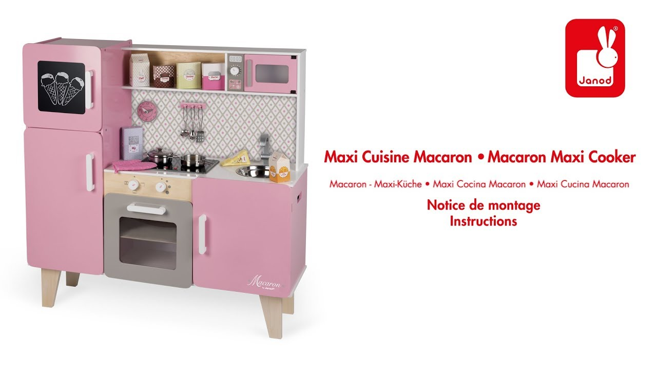 maxi cuisine macaron janod notice de montage youtube. Black Bedroom Furniture Sets. Home Design Ideas