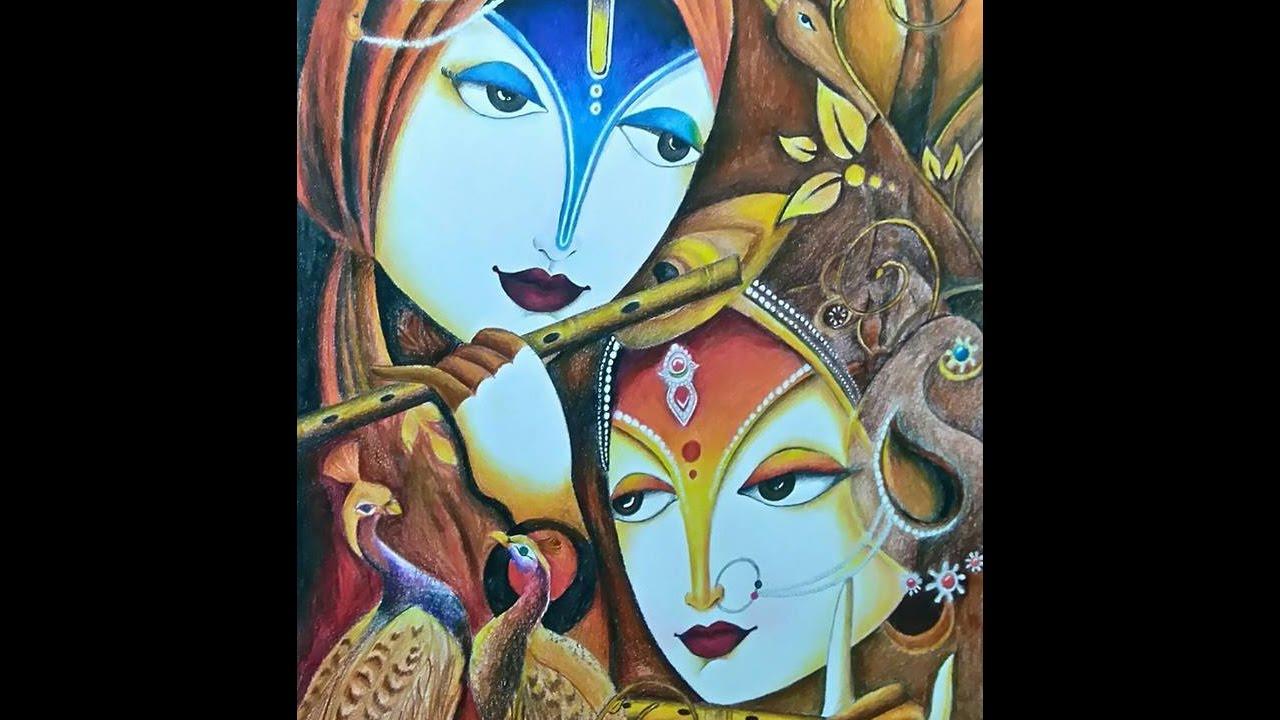 Radha Krishna Modern Art Drawing