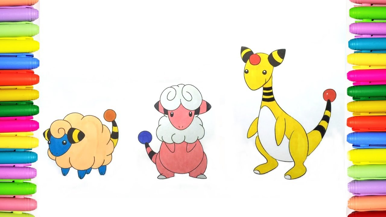 Pokemon Coloring Pages Mareep Flaaffy And Ampharos Youtube