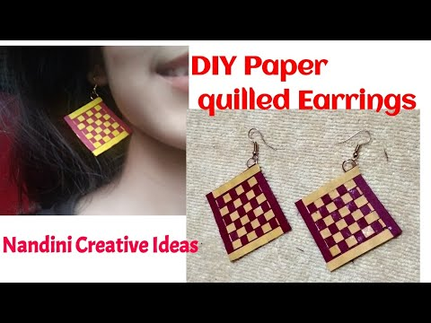 DIY Paper quilled Earrings/How To Make Paper Quilling Earrings Step By Step