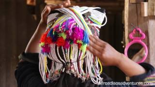 Akha headdress demonstration