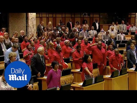 South African parliament celebrate resignation of Jacob Zuma - Daily Mail