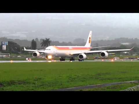 Iberia Airbus A340-600 Wet Take Off MROC Costa Rica