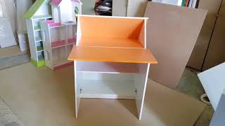 """Детский стол парта трансформер """"Зю-Зю"""". Цвет белый и оранж. Полки-кидс. ру"""
