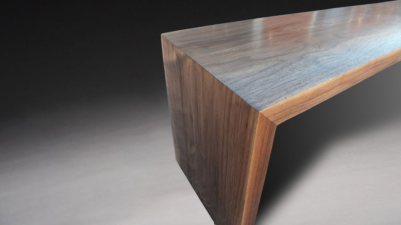 Building a modern bench with mitered legs and waterfall