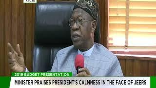 Budget Presentation: Lai Mohammed praises President Buhari's calmness in the face of jeers