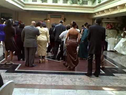 typical black wedding electric slide footage