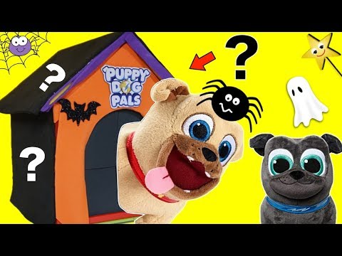 Who's in the PUPPY DOG PALS Spooky DOG HOUSE GAME? Halloween Surprise Toys Game